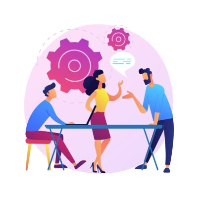 Business seminar. Staff training and development. Consultation, coaching, mentoring. Cartoon characters listening report of successful businesswoman. Vector isolated concept metaphor illustration